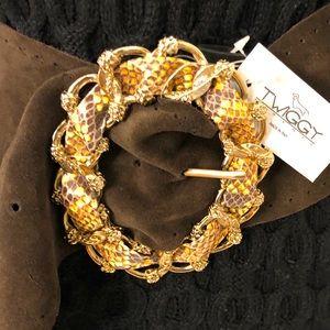 NWT Italian Suede wt Embellished Gold Buckle Belt